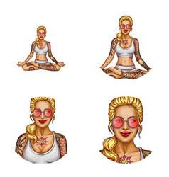 avatar of tattooed girl doing yoga vector image