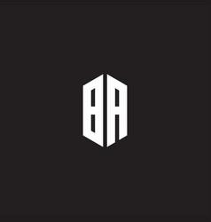 Ba logo monogram with hexagon shape style design vector