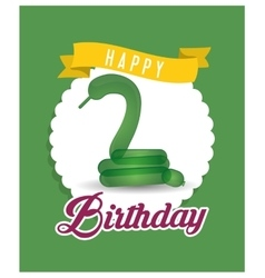 balloon snake ribbon happy birthday card green vector image