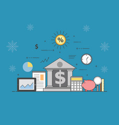 banking and business on winter background vector image