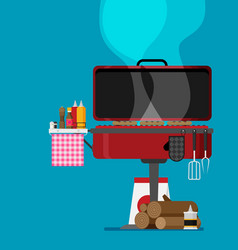barbecue flat style design vector image
