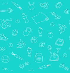 Blue seamless pattern with fitness doodles vector
