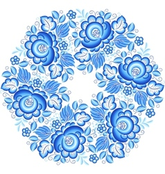 Blue snowflake in gzhel style vector image