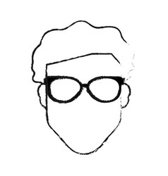 Blurred silhouette front view faceless man with vector
