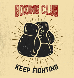 boxing club keep fighting hand drawn boxing vector image
