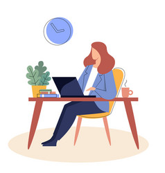 businesswoman is sitting at a table with a laptopr vector image