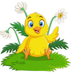 cartoon baby chick sitting on the grass vector image