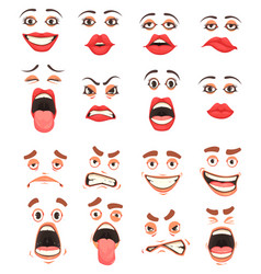 cartoon cute mouth set vector image