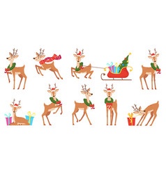cartoon deer winter celebration fairytale animals vector image