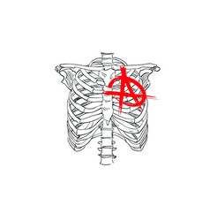 Chest skeleton with anarchy symbol fashion tsirt vector
