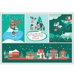 Christmas cards set most wonderful time vector