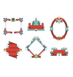 Christmas frames and ribbons set vector