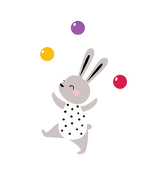 Circus hare animal juggling with colorful balls vector