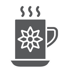 cocoa cup glyph icon sweet and drink hot mug vector image