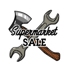 Color vintage supermarket sale emblem vector