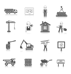 Construction Icons Black vector image