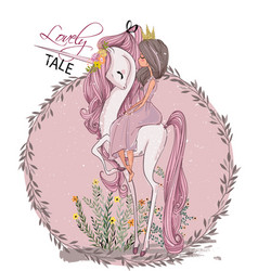 cute unicorn with princess vector image