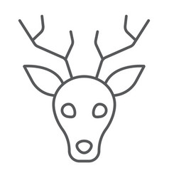 Deer thin line icon animal and zoo stag sign vector