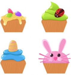 easter cupcakes vector image