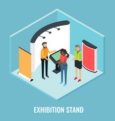 Exhibition stand concept flat isometric vector