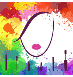 face of beautiful girl makeup artist fashion vector image