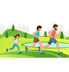family jogging exercise together in park active vector image