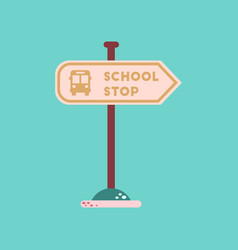 Flat icon on background school stop sign vector