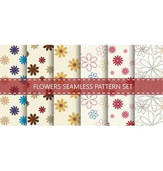 Flowers seamless pattern set vector image
