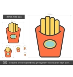 French fries line icon vector