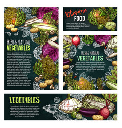 Fresh vegetable and mushroom chalkboard banner vector