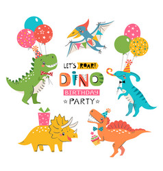 Funny cute colorful birthday party dinosaurs vector