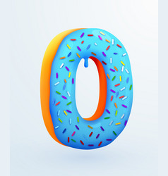Glazed donut font number 0 number zero cake vector