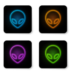 Glowing neon alien icon isolated on white vector