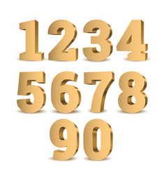 gold 3d numbers vector image