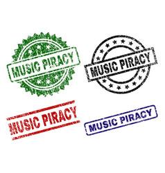 Grunge textured music piracy stamp seals vector