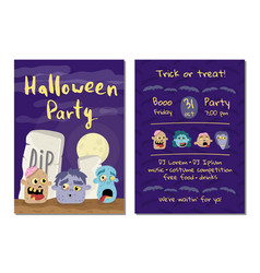 halloween party invitation with zombie heads vector image