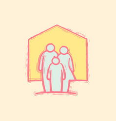 hand drawing family inside house doodle icon vector image