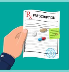 Hand prescription rx pills capsules for illness vector