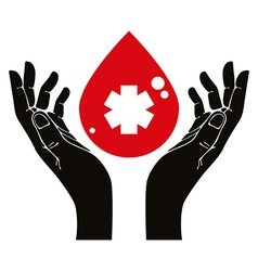 Hand with blood drop symbol vector