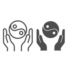 hands holding yin yang line and glyph icon yin vector image