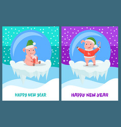 happy new year pig with candy stick smiling vector image