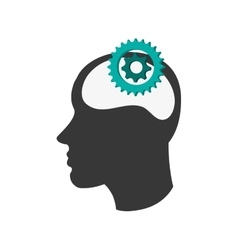 head silhouette profile and gears icon vector image