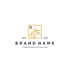 Home and palm trees logo design vector