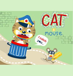 Humor cartoon with cat and mouse vector