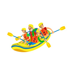 kayaking extreme activity people in boat vector image