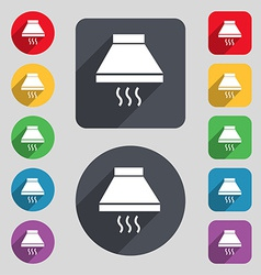 Kitchen hood icon sign A set of 12 colored buttons vector image