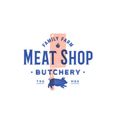 label meat shop label logo with grill butcher vector image