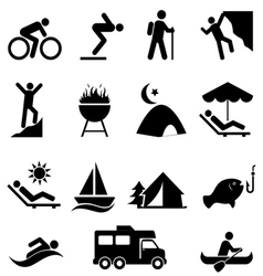 Leisure and outdoor recreation Icons vector image