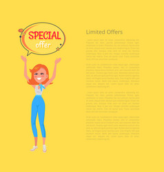 Limited offers poster with woman holding hands up vector
