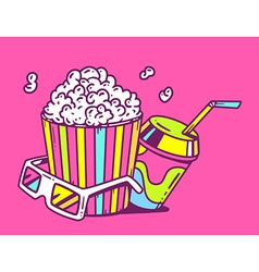 linear of pop corn with juice and anaglyph g vector image